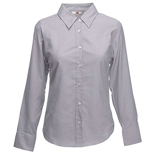 Fruit of the Loom Lady-Fit Long Sleeve Oxford Shirt Oxford Grey