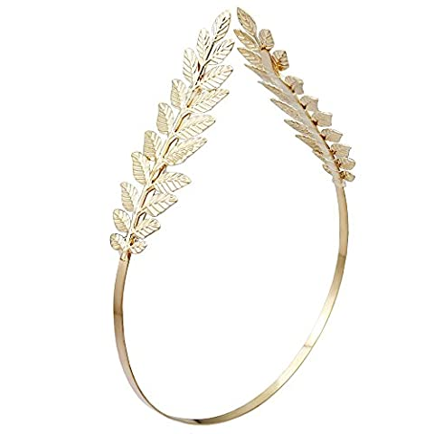 Gold 2-Branch Q&Q Fashion Roman Goddess Leaf Branch Dainty Bridal Hair Crown Head Dress Boho Alice (Religious Gold Crowns)