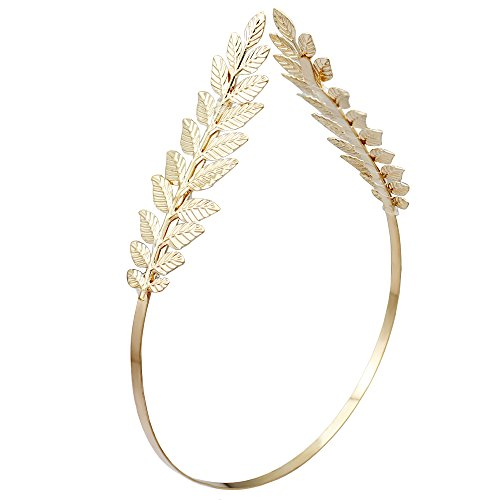 RechicGu Gold 2-Branch Roman Goddess Leaf Branch Dainty Bridal Hair Crown Head Dress Boho Alice Band with Gift Box -
