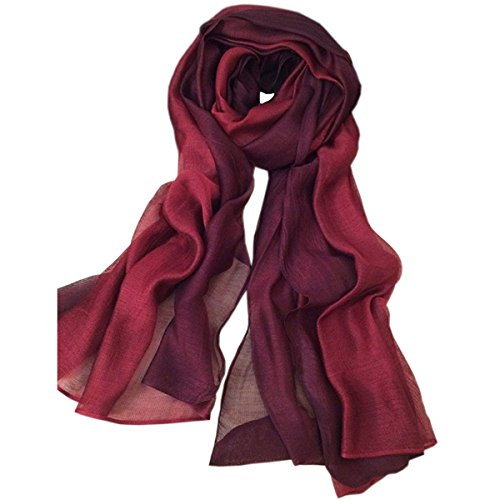 (SNUG STAR Cotton Silk Scarf Elegant Soft Wraps Color Shade Scarves for Women (Wine red))