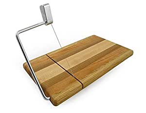 American Hardwood Mixed Wood Cheese Board with Wire Slicer, 11.5 x 6 Inches