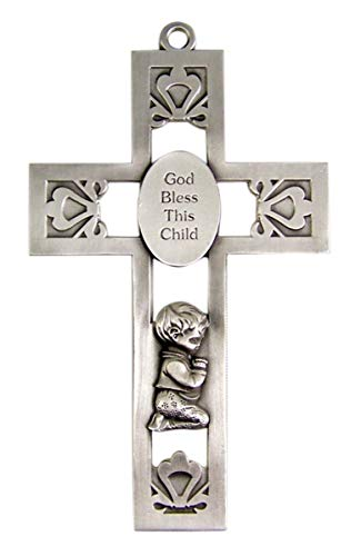 God Bless This Child Praying Boy Pewter Wall Cross for First Communion or Baptism 5 1/4 -