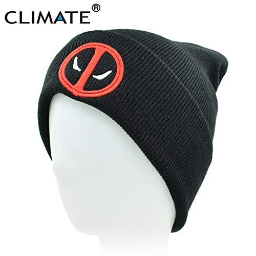 c643cc1b600 Elvy Climate New Hot Men Women Winter Warm Beanies Hat Deadpool Heros Hat  Beanie Soft Hip Hop Black Warm Knitted Caps for Men Women  Amazon.in   Clothing   ...