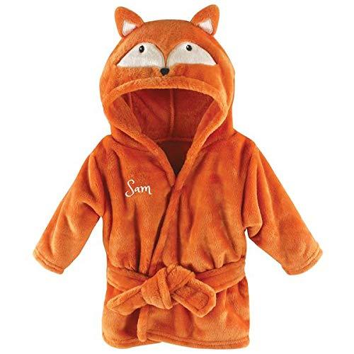 - Personalized Baby Bathrobe -Custom Monogram/Name Embroidered Gift/Present/Infant/Baby Shower or Birth Baby Robe & Bathrobe (Fox)