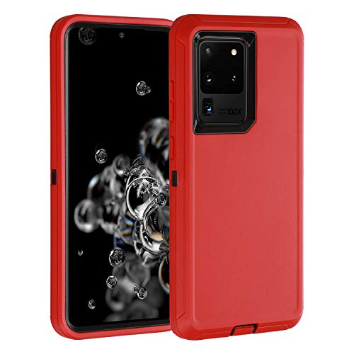 smartelf for Galaxy S20 Ultra Case,Shockproof Full Body Heavy Duty Case, Rugged Cover Drop-Proof Protective Tough Shell for Samsung Galaxy S20 Ultra 5G-Red/Black