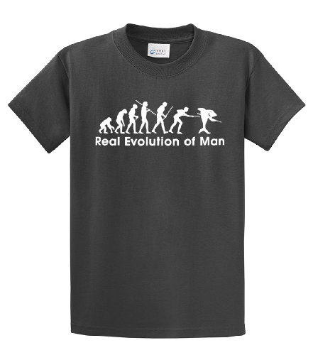 Billiards T-Shirt Real Evolution of Man -charcoal-large
