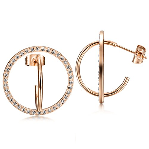 CIUNOFOR Pave Cz Round Hoop Earrings Ros...