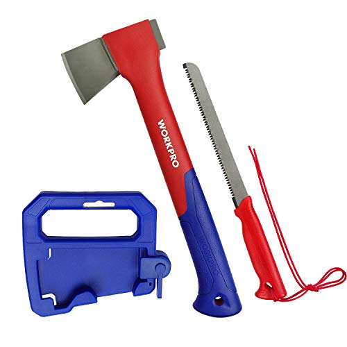 WORKPRO Camping Axe Saw Combo Kit - 14-inch Splitting Hatchet with Hand Saw Storaged in Handle, Molded Sheath Included by WORKPRO (Image #9)