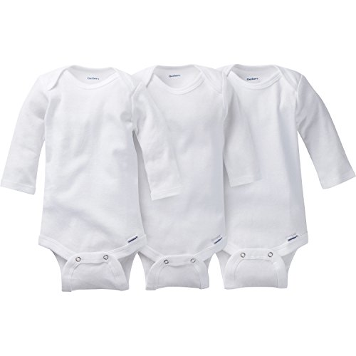 Gerber Baby Infant 3 Pack Organic Long Sleeve Onesies Brand Bodysuit, White, 3-6 Months (Baby Three Pack Bodysuits)