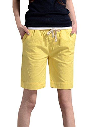 Smalltile Casual Baggy Shorts con Coulisse Donne Estivo Pantaloncini Giallo
