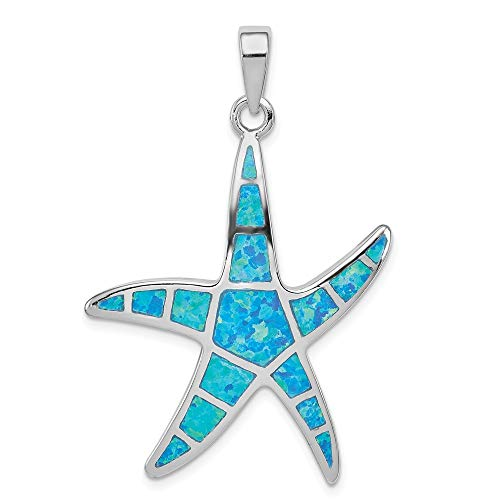 - 925 Sterling Silver Blue Inlay Created Opal Starfish Pendant Charm Necklace Sea Shore Shell Fine Jewelry Gifts For Women For Her