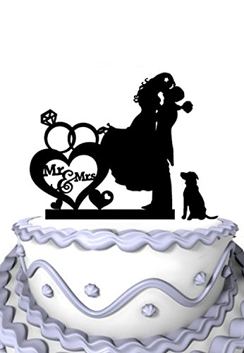 Meijiafei Romantic Bride and Groom Kiss with Dogwith Cursive Mr & Mrs Silhouette Wedding Cake Topper