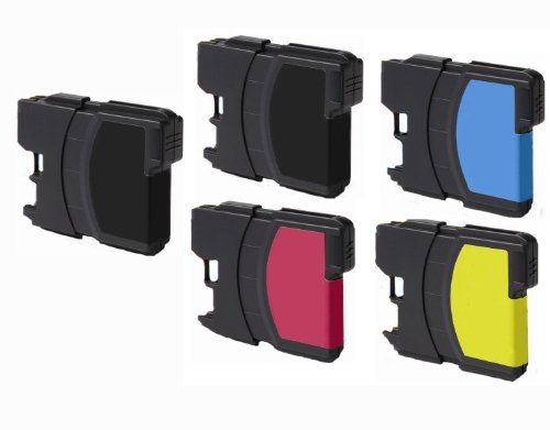 Brother 165c Color Dcp (5 Pack (2 Black + 1 each color) for Brother LC61 DCP 165C MFC 290C 490CW 585CW 790CW 5490CW 5890CW 6490CW)