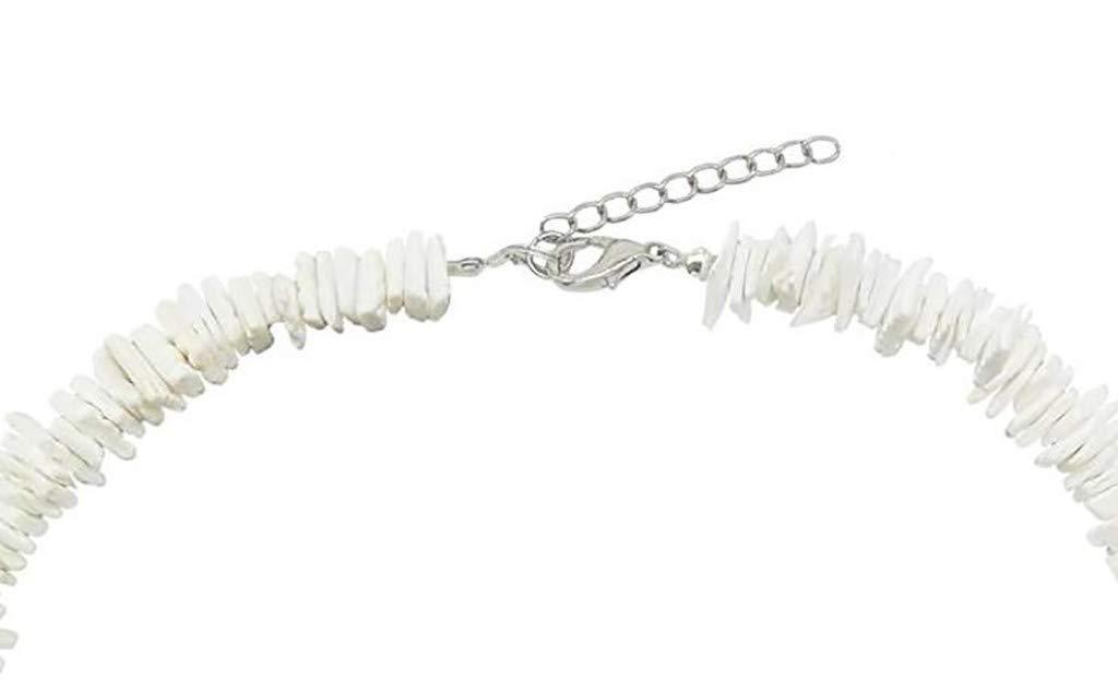Tuscom White Conch Clam Chips Puka Shell Necklace Boho Seashell Choker Necklace for Women Sea Shell Necklace Statement Collar Necklace Beach Jewelry 16//40cm Hawaiian Puka Chip Shells Necklace