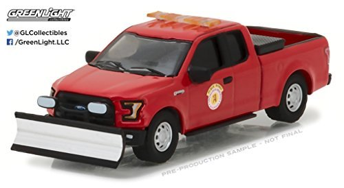 Greenlight 29912 2016 Ford F-150 Pickup Truck Arlington Heights Illinois Public Works with Light Bar and Snow Plow Hobby Exclusive 1/64 Diecast Model Car