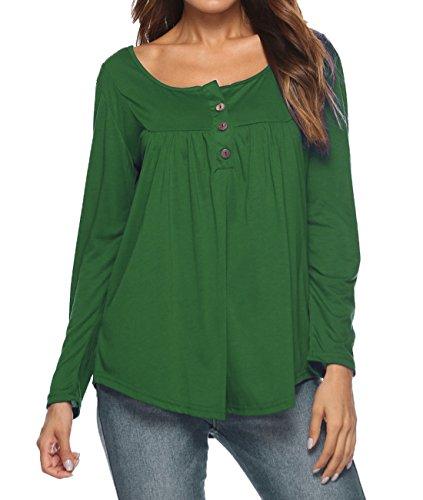 Moda Maglietta Maglie ulein Fox Tops Pieghe Lunga Casual Tumblr Primavera Autunno a Shirt Bluse Verde a Fr e T Manica Donne Cime Ba7qx7wd