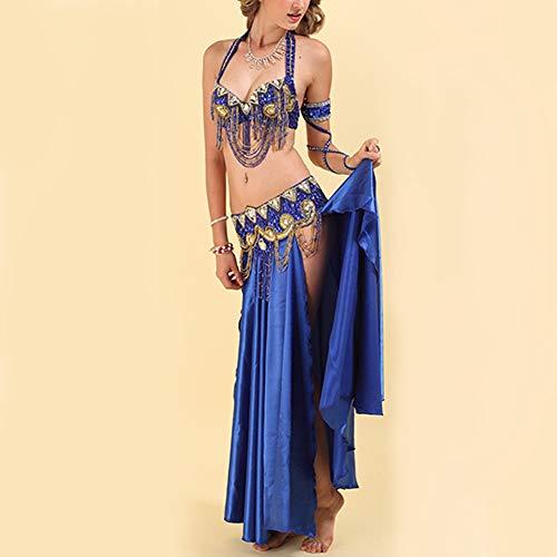 Vestito Reggiseno Abbigliamento Donna Costume Di Danza Solido Abito Ballo Nazionale Chiffon Colore Del India Ventre Completo Indiano Blu Yudesun pC5w1q