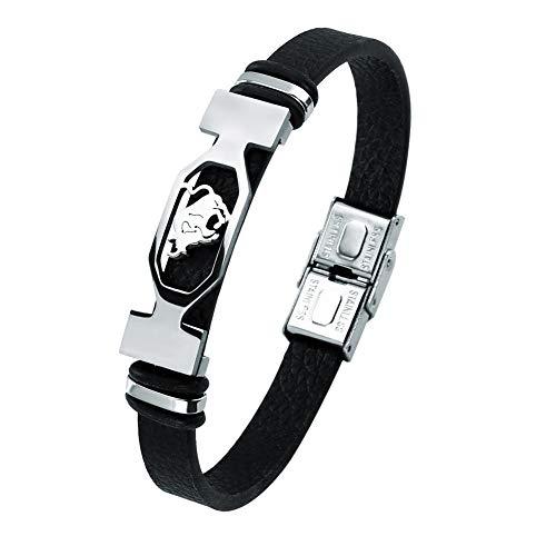Liujun Mens Bracelets Fashion 12 Zodiac Signs Constellations Stainless Steel Personality Vintage Punk Black Leather Bracelets for Men Women (Taurus)