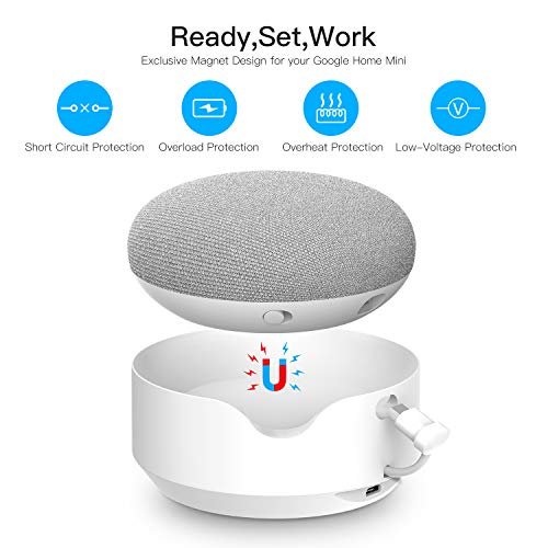 Updated Portable External Battery Base for Google Home Mini,5200mAh Rechargeable Power Bank,Magnetic Base&Anti-Slip Rubber Pads,Charger by Myriann(White) by MYRIANN (Image #2)