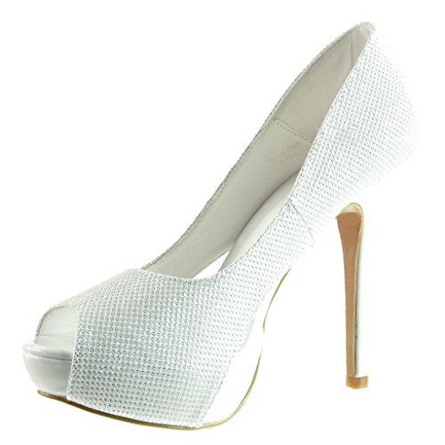 da Peep Scarpe donna tacco lucide 12 da Bianco alto CM stiletto decollete Moda Stiletto scarpe Toe Angkorly sera Tacco 5 wg8dXqnX