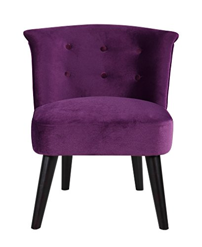 Classic and Traditional Living Room Velvet Fabric Accent Chair with Tufted Details (Purple)