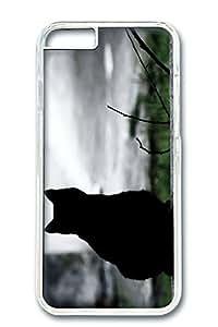 iPhone 6 Case, Custom Design Covers for iPhone 6 PC Transparent Case - Black Sad Cat