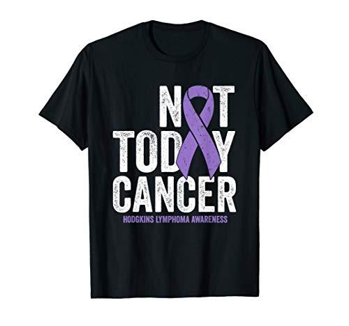 Hodgkins Lymphoma Awareness Ribbon Not Today Purple Cancer T-Shirt - Hodgkins Lymphoma Shirts