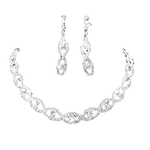 Jewelry Wedding Rhinestone Necklace Earrings