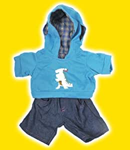 """""""Dinosaur"""" Hoodie w/Jeans Teddy Bear Clothes Outfit Fits Most 14"""" - 18"""" Build-a-bear, Vermont Teddy Bears, and Make Your Own Stuffed Animals"""