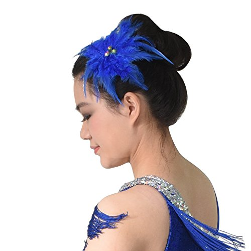 Dance Costumes With Feathers (MiDee Neon Rhinestone Feather Hair Flower Dance Headpiece Accessories (Royal Blue))