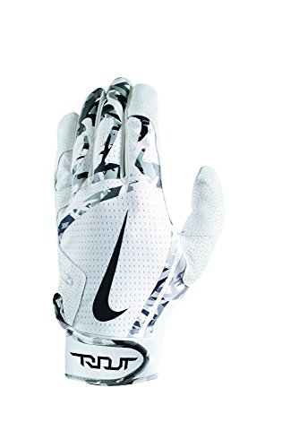 Men's Nike Trout Edge Batting Gloves White/White/Black Size Large