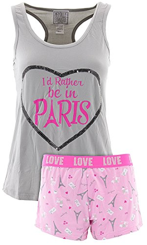 Mentally Exhausted Juniors Be In Paris Shorty Pajamas M