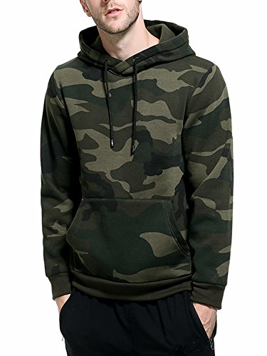 ASALI Men's Camouflage Pullover Hoodies Camo Hooded Sweatshirts Army Green M#03 Camouflage Hooded Sweatshirt