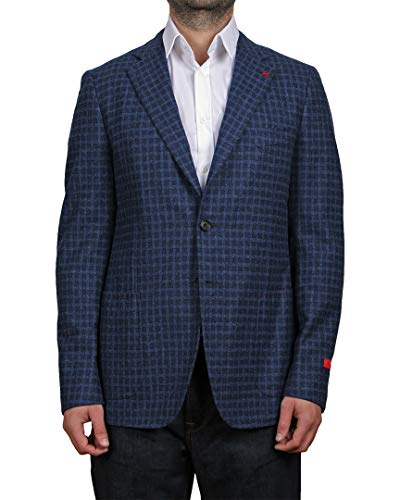 Isaia Mens Capri Blend Wool Blazer, 46 Blue