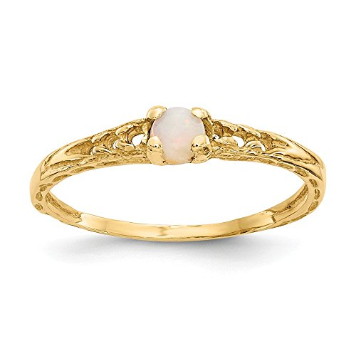 14k Yellow Gold 3mm Opal Birthstone Baby Ring.