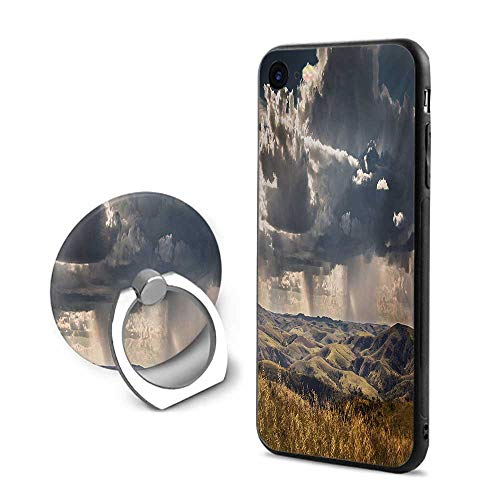 Rustic iPhone 6 Plus/iPhone 6s Plus Cases,Puffy Clouds in The Sky Over Mountains Rough Valley Canyon Natural Wonders Concept Multicolor,Design Mobile Phone Shell Ring Bracket