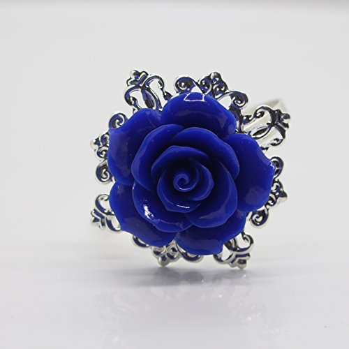 AngHui ShiPin 10pcs Blue Rose Decorative Silver Napkin Ring Serviette Holder for Wedding Party Dinner Table Decor Many Color Available for Christmas Table