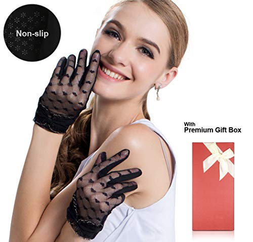 Women's Lace Floral Elegant Gloves for Driving/Party/Evening With''Love'' pattern by LAI MENG FIVE CATS