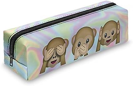 Estuche cuadrado con estampado de emoticonos, estuche holográfico de viaje, con cremallera, color Holo Monkeys Square: Amazon.es: Oficina y papelería