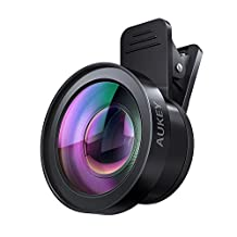 AUKEY iPhone Lens, 2 in 1 Cell Phone Camera Lens Kit, 120 Degree Wide Angle Lens + 15X Macro Lens for iPhone, Samsung, Android Smartphones(Ora Lens)