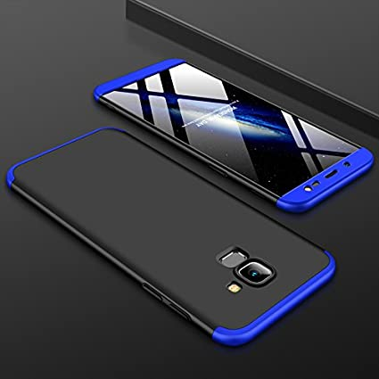 uk availability 6fb2c b2aee DKandy Full Body 3 in 1 Matte Finish 360° Double Dip Front Back Cover Case  for Samsung Galaxy J6 (Black & Blue)