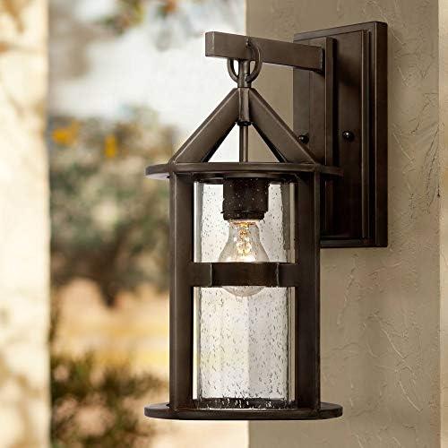 Argentine Modern Outdoor Wall Light Fixture Bronze Metal 17″ Clear Seedy Glass Cylinder