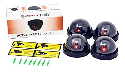 Mandala Crafts 4 Dummy Fake Security Dome Cameras with Flashing Red LED Light CCTV Alert Warning Sticker Decal Signs by Mandala Crafts