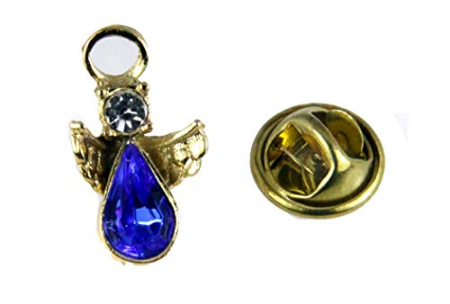 6030235 Blue Rhinetone Guardian Angel Lapel Pin Brooch Tack Pin Christian Faith