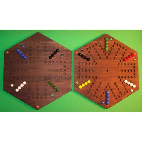 - THE PUZZLE-MAN TOYS W-1978 Wooden Marble Game Board - (2 Games in 1) - 20 in. Hexagon - Aggravation 6-Player 6-Hole & 4-Player 6-Hole - Walnut