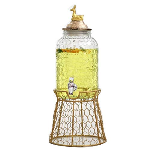 XSWZAQ-bt European Animal Cover Peacock Gold Deer Honeycomb Pattern Juice jar Glass with Faucet Party Drink Bucket jug (Color : Gold, Size : Style c)