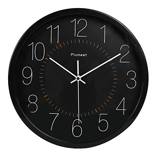 Plumeet Silent Wall Clock, 12 Inch Non-Ticking Quartz Clocks, Battery Operated, Decorative Home Office School (Black)