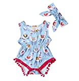 Specialcal Newborn Baby Boys Girls Little Llama Print Short Sleeve Bodysuit Romper (0-6M, Blue)