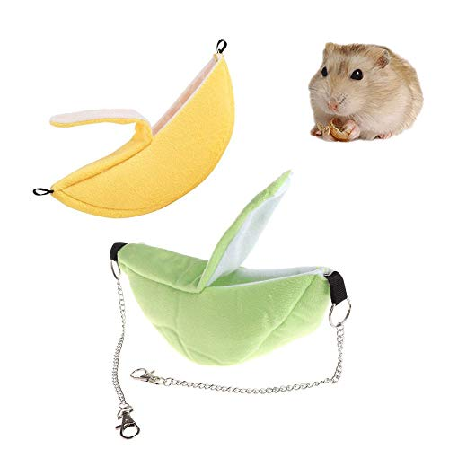 ZYZ 2 Pcs Hamster Bed, Banana House Hammock Small Animal Bed House Cage Nest Hamster Accessories for Sugar Glider Hamster Small Bird Pet ()