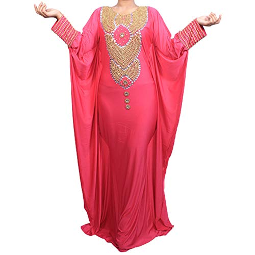Allena - Fitted Batwing 04 - Hand-beaded Kaftan, Dress, Abaya (XXXX-Large, Fuchsia)